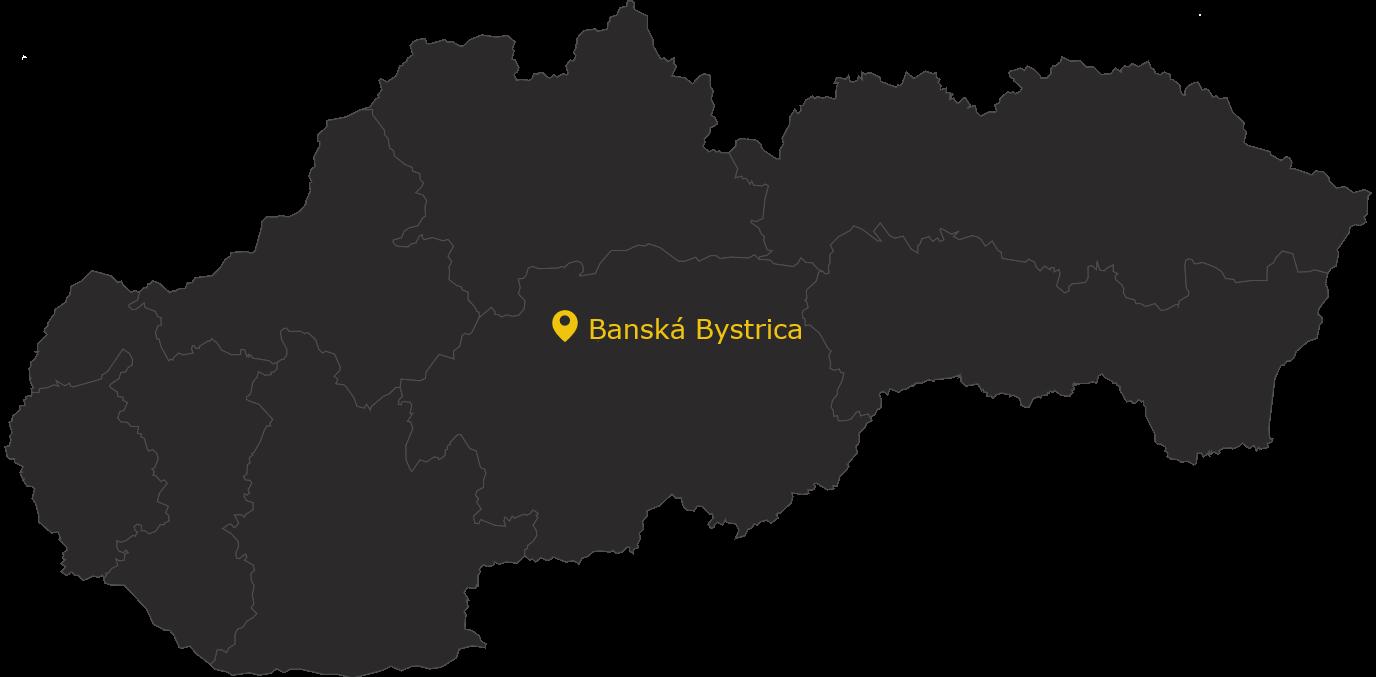 mapa oznacene miesto Banska Bystrica MMM PB